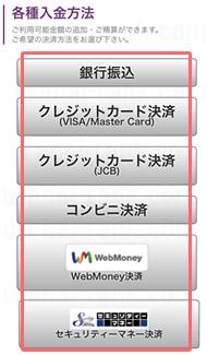 電話占いFeel(フィール)各種入金方法